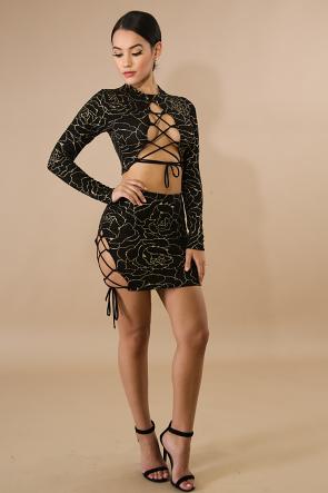 Corset Glitter Mini Skirt Set