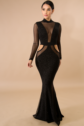 Sheer Sparkle Mesh Maxi Dress