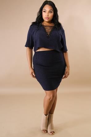 Corset Knit Skirt Set