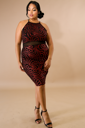 Glitter Swirls Body-Con Dress