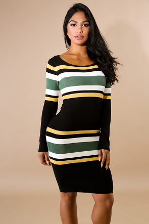 Trim Stripe Knit Midi Dress