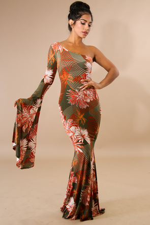 Palms Kimono Mermaid Maxi Dress