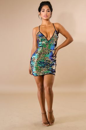 Palm Sequin Mini Dress