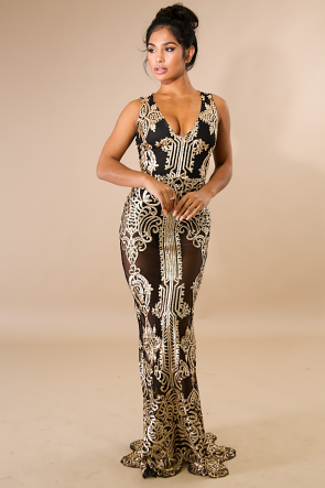 Royalty Sequin Mermaid Maxi Dress