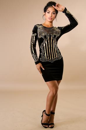 Suede Sequin Body-Con Dress
