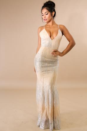 Glitter Rainfall Maxi Dress