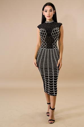 Sprinkled Stud Midi Dress
