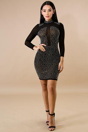 Glam Rhinestone Body-Con Dress