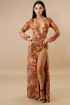Cheetah Print Maxi Dress