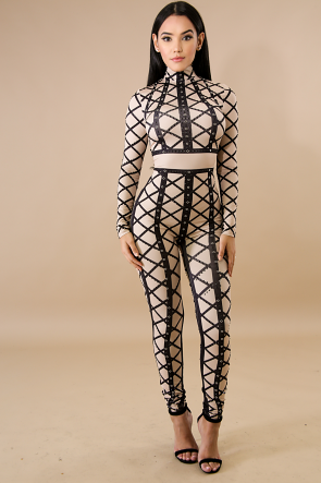 Chained Up Rhinestone Jumpsuit
