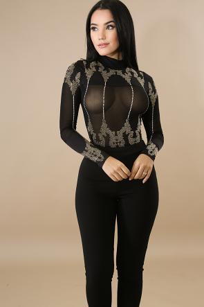 Stud Glam Drop Bodysuit
