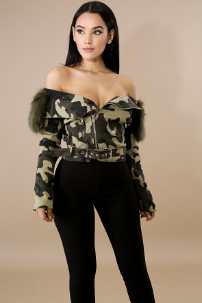 Faux Fur Camouflage Jacket