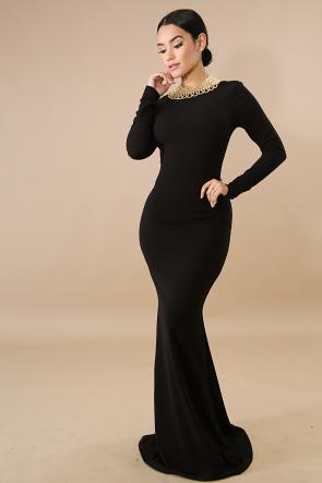 Sensual Back Mermaid Maxi Dress