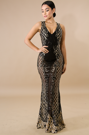Glam Gala Sequin Maxi Dress