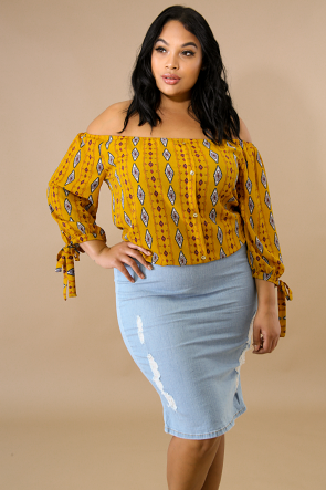 Damask Button Top