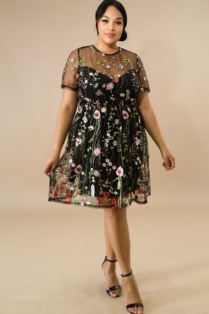 Embroidered Vine Floral Dress
