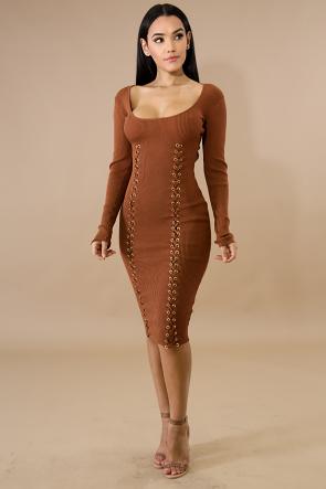 Eyelet Braid Knit Body-Con Dress