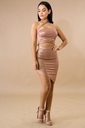 Shine Edge Wrap Skirt Set