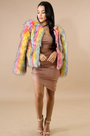 Rainbow Fur Coat