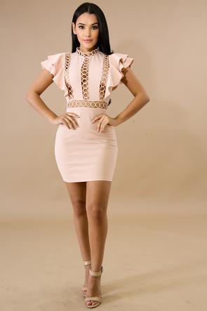 Ringlet Flare Body-Con Dress