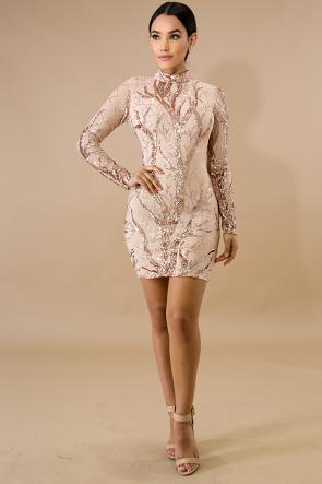 Vine Sequin Body-Con Dress