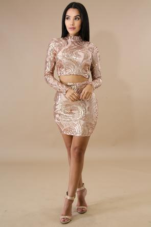 Halter Sequin Skirt Set
