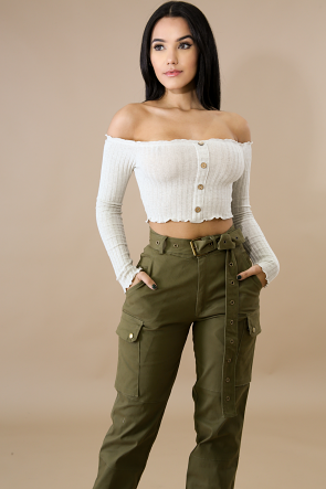 Scallop Button Crop Top