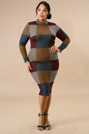 Metallic Squared Sweater Dress