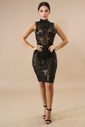 Mock Sheer Sequin Body-Con Dress