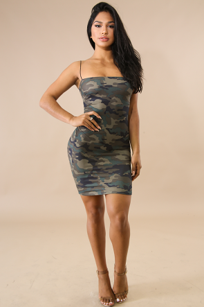 Camouflage Flannel Body-Con Dress