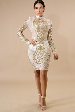 Sequin Flower Body-Con Dress