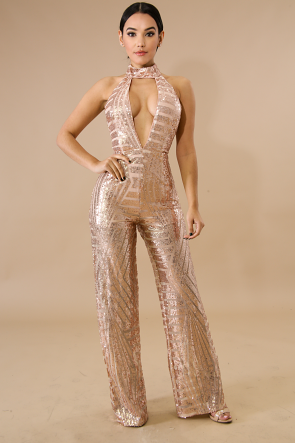 Sequin choker Jumpsuit