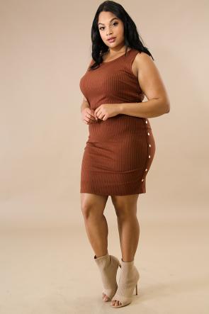 Stripe Button Side Body-Con Dress