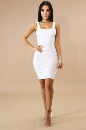Sweet Ruffle Knit Body-Con Dress