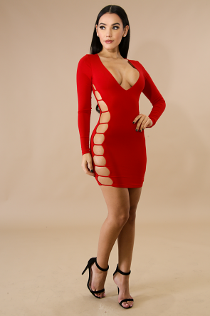Ladder Jersey Body-Con Dress