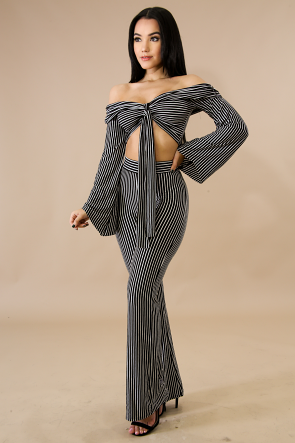 Jersey Stripe Pant Set