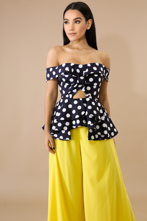 Ruffled Zig Polka Dot Top