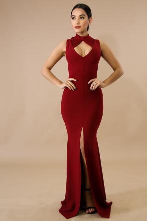 Slash Maxi Slit Dress