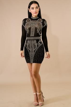 Sheer Stud Body-Con Dress