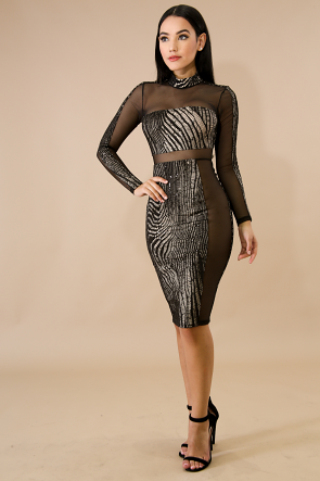 Sequin Knitted Sheer Body-Con Dress