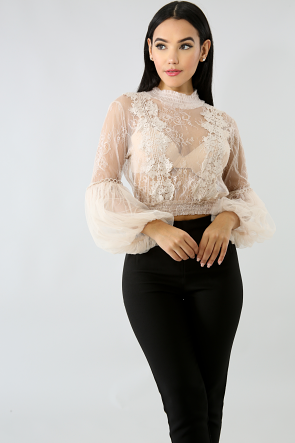 Lace Puff Tull Top