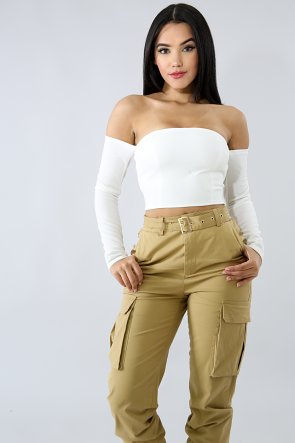 Eyelet Lace Back Crop Top