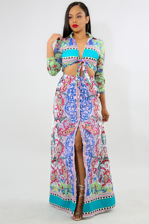 Hearts Mid Cut Maxi Dress
