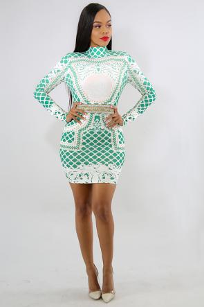Stud Rhinestone Trim Body-Con Dress