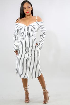 Striped Off Shoulder Midi Dress