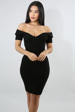 V-Knit Body-Con Dress