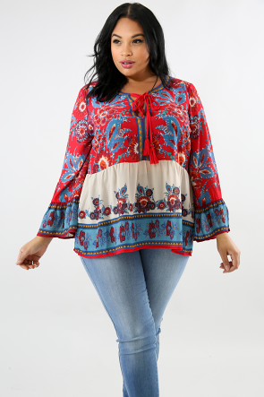 Sheer Floral Peasant Top