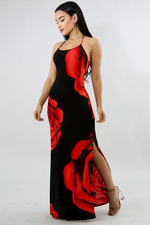 Rose Slit Spring Dress