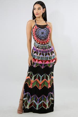 Aztec Mesh Spring Dress