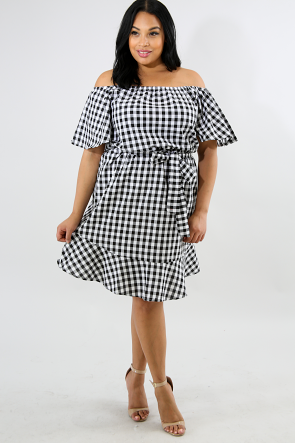 Checkered Plaid Shift Dress